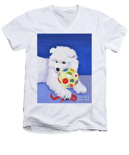 Fluffy's Portrait Men's V-Neck T-Shirt by Phyllis Kaltenbach