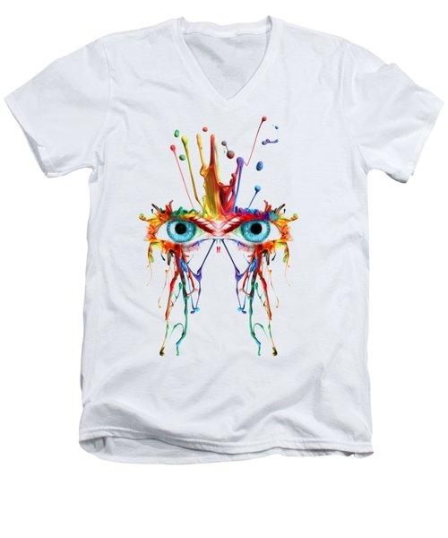 Men's V-Neck T-Shirt featuring the photograph Fluid Abstract Eyes by Robert G Kernodle