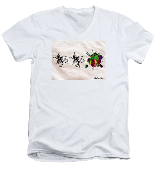 Fly On The Wall Abstract Watercolor Men's V-Neck T-Shirt