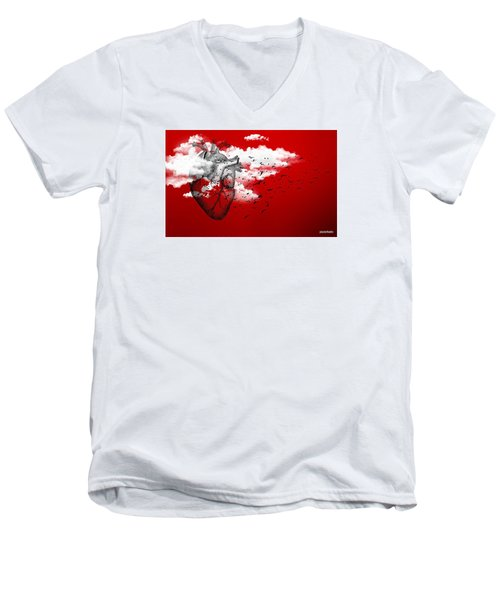 Flying High Men's V-Neck T-Shirt by Paulo Zerbato