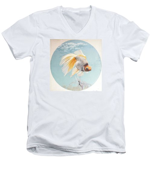 Flying In The Clouds Of Goldfish Men's V-Neck T-Shirt by Chen Baoyi