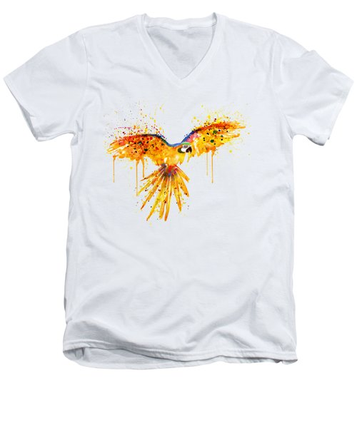 Flying Parrot Watercolor Men's V-Neck T-Shirt by Marian Voicu