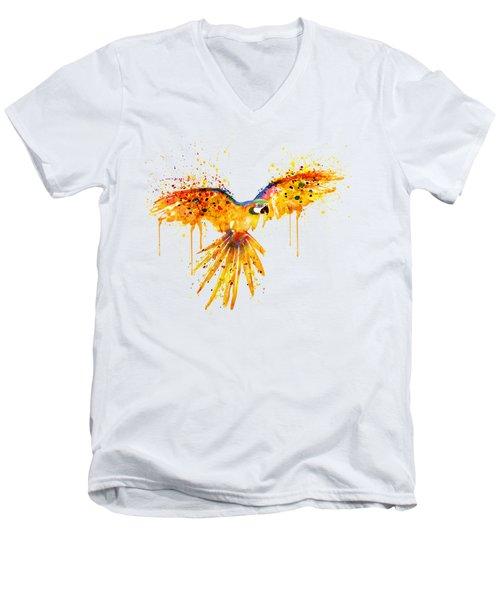 Flying Parrot Watercolor Men's V-Neck T-Shirt