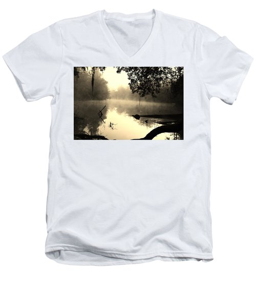 Fog And Light In Sepia Men's V-Neck T-Shirt