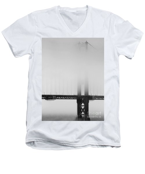 Fog At The Golden Gate Bridge 4 - Black And White Men's V-Neck T-Shirt