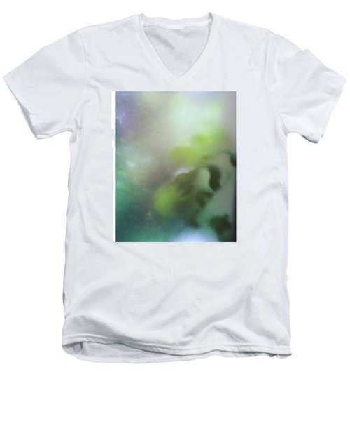 #fog #green #autumn #leaves #garden Men's V-Neck T-Shirt
