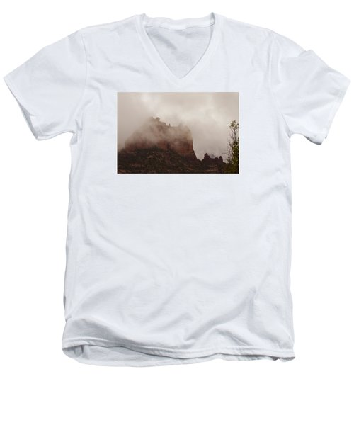 Men's V-Neck T-Shirt featuring the photograph Fog Over Snoopy Rock by Tom Kelly