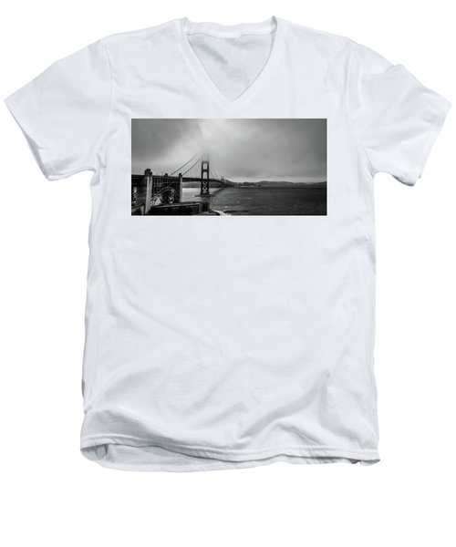 Fog Over The Golden Gate Bridge Men's V-Neck T-Shirt