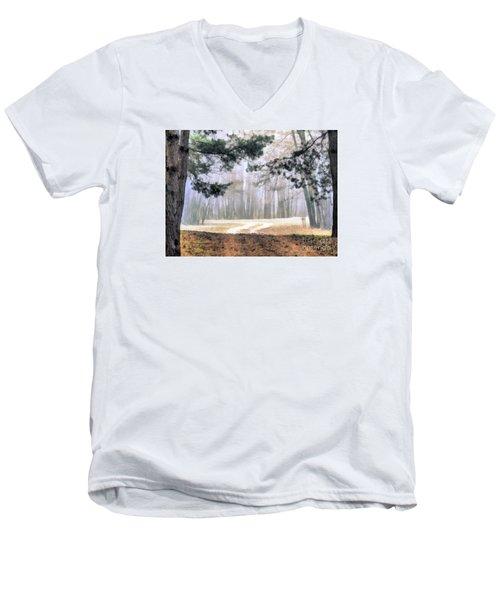 Foggy Autumn Landscape Men's V-Neck T-Shirt by Odon Czintos