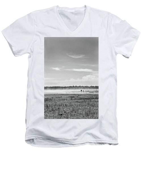 Foggy Day On A Marsh Men's V-Neck T-Shirt