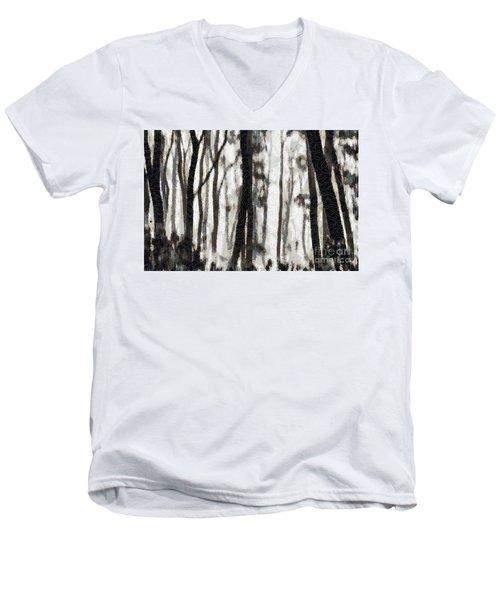 Foggy Forest Tree Paint Men's V-Neck T-Shirt