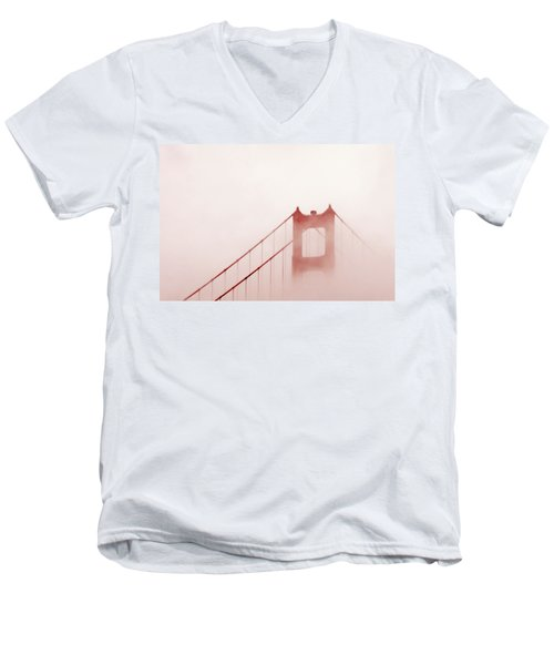 Men's V-Neck T-Shirt featuring the photograph Foggy Golden Gate by Art Block Collections
