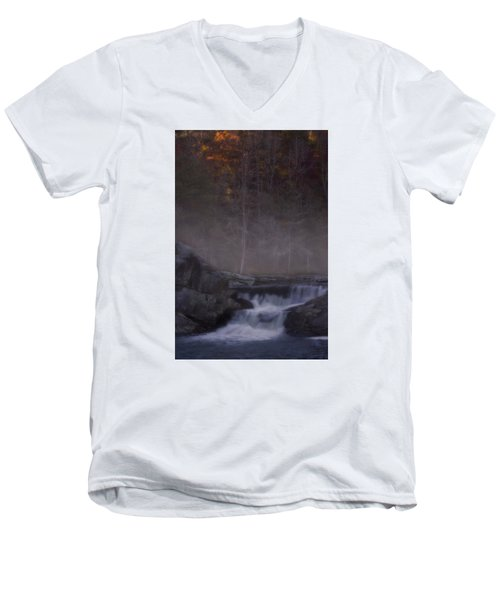 Men's V-Neck T-Shirt featuring the photograph Foggy Morning At Linville Falls by Ellen Heaverlo