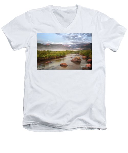 Foggy Morning In Moraine Park Men's V-Neck T-Shirt by Ronda Kimbrow