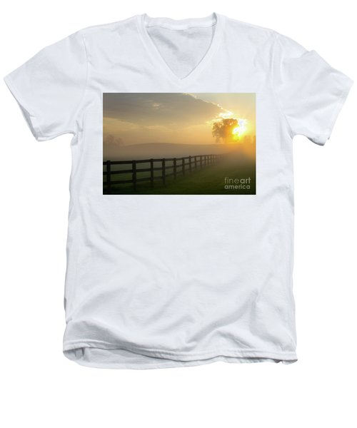 Foggy Pasture Sunrise Men's V-Neck T-Shirt