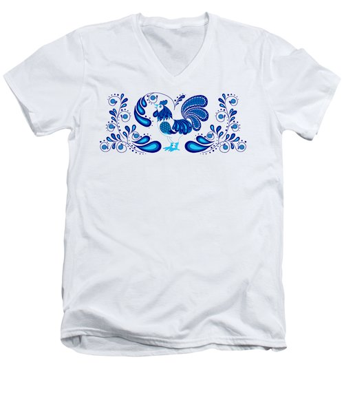 Folk Art Rooster In Blue Men's V-Neck T-Shirt