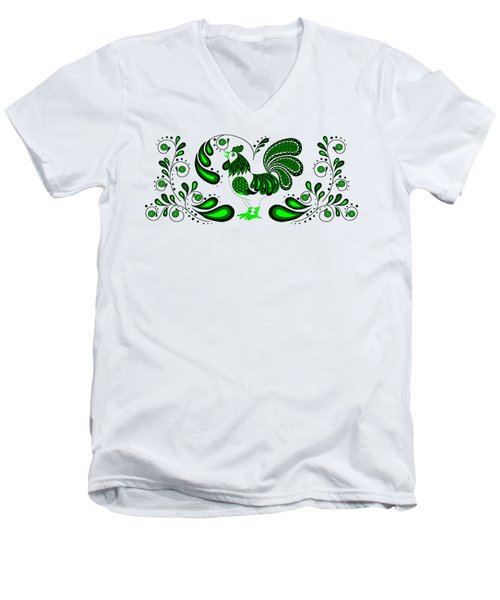 Folk Art Rooster In Green Men's V-Neck T-Shirt