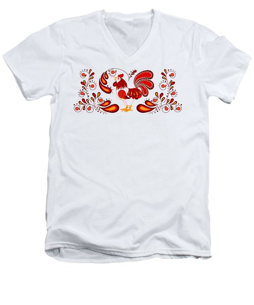 Folk Art Rooster In Red Men's V-Neck T-Shirt