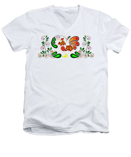 Folk Art Rooster Multi Color Men's V-Neck T-Shirt by Ruanna Sion Shadd a'Dann'l Yoder