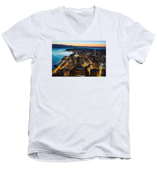 Follow The Yellow Brick Road Men's V-Neck T-Shirt by Ryan Manuel
