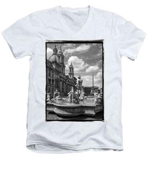 Fontana Del Moro.rome.italy Men's V-Neck T-Shirt by Jennie Breeze