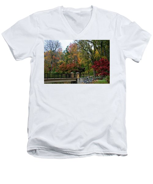 Foot Bridge In The Fall Men's V-Neck T-Shirt