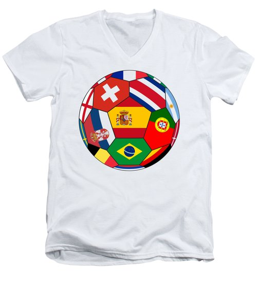 Football Ball With Various Flags Men's V-Neck T-Shirt