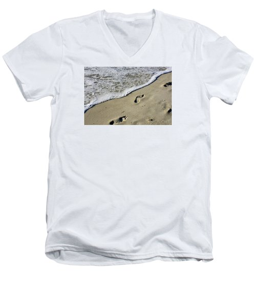 Men's V-Neck T-Shirt featuring the photograph Footprints On The Beach by Robb Stan