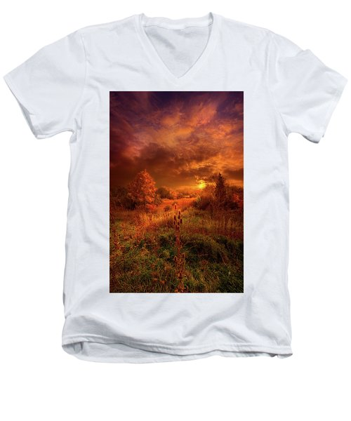 Men's V-Neck T-Shirt featuring the photograph For A Time I Rest In The Grace Of The World And Am Free by Phil Koch