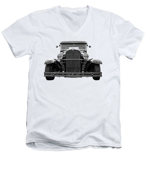 Ford Coupe Head On In Black And White Men's V-Neck T-Shirt