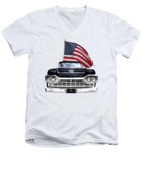 Ford F100 With U.s.flag On Black Men's V-Neck T-Shirt