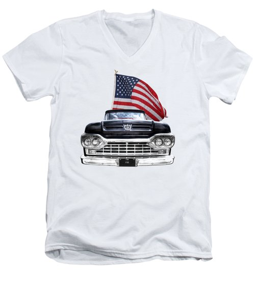 Ford F100 With U.s.flag On Black Men's V-Neck T-Shirt