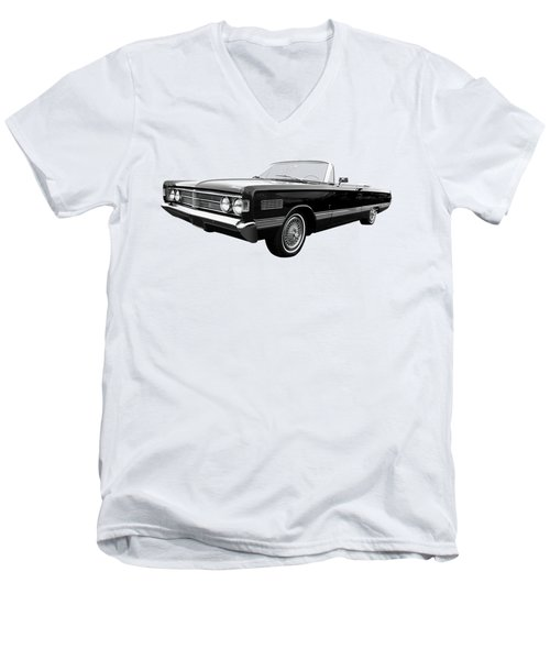 Men's V-Neck T-Shirt featuring the photograph Ford Mercury Park Lane 1966 Black And White by Gill Billington