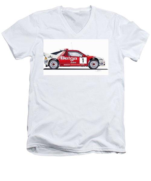 Ford Rs 200 Belga Team Illustration Men's V-Neck T-Shirt by Alain Jamar
