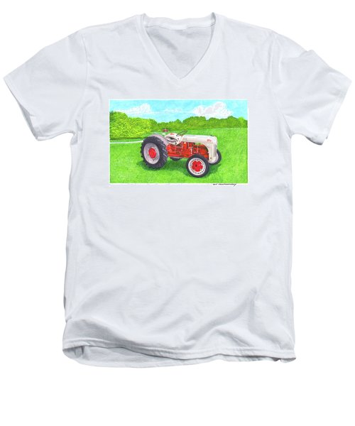 Men's V-Neck T-Shirt featuring the painting Ford Tractor 1941 by Jack Pumphrey