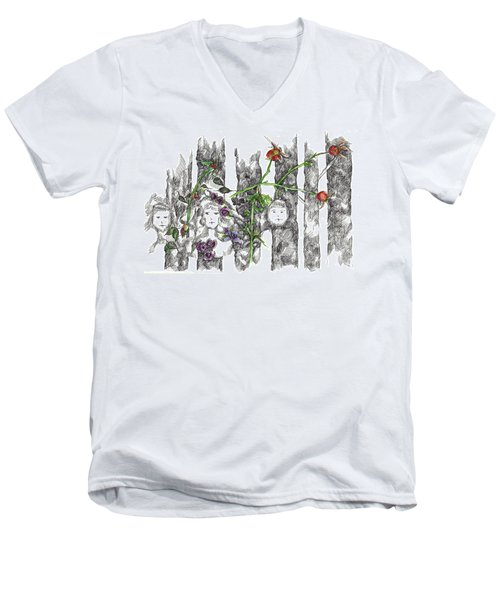 Men's V-Neck T-Shirt featuring the drawing Forest Faces by Cathie Richardson