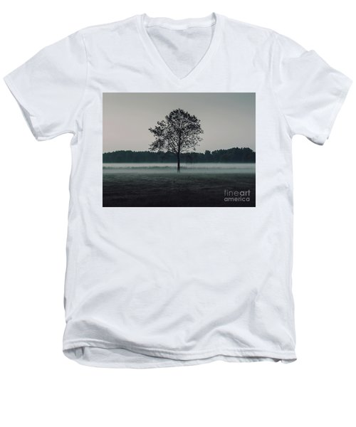 Men's V-Neck T-Shirt featuring the photograph Forest Fog by MGL Meiklejohn Graphics Licensing