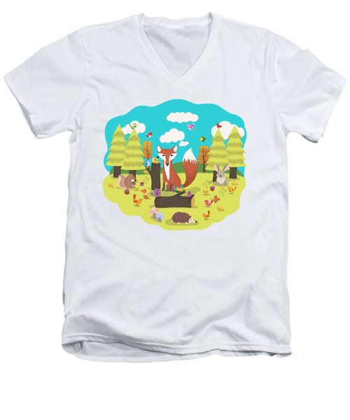 Forest Friends Fall Frolic Men's V-Neck T-Shirt