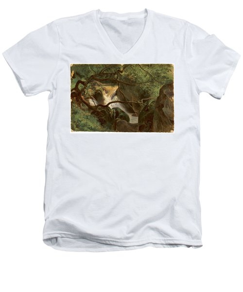 Forest Interior With A Waterfall Papigno Men's V-Neck T-Shirt