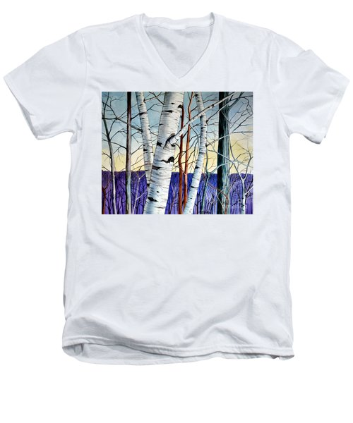 Men's V-Neck T-Shirt featuring the painting Forest Of Trees by Christopher Shellhammer