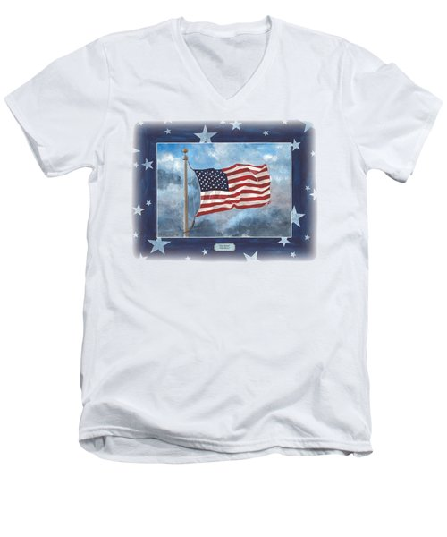 Forever Old Glory  Men's V-Neck T-Shirt by Herb Strobino