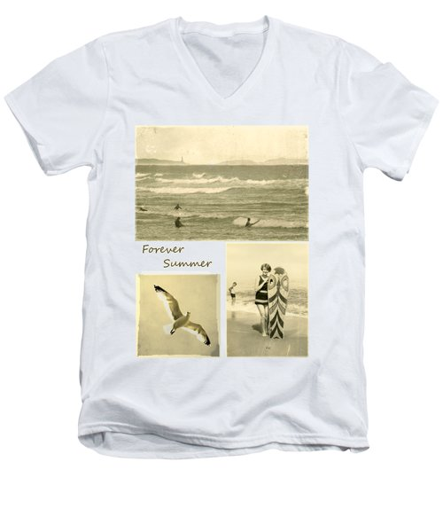Men's V-Neck T-Shirt featuring the photograph Forever Summer 3 by Linda Lees