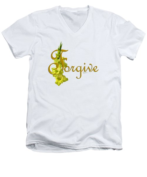 Men's V-Neck T-Shirt featuring the digital art Forgive by Ann Lauwers