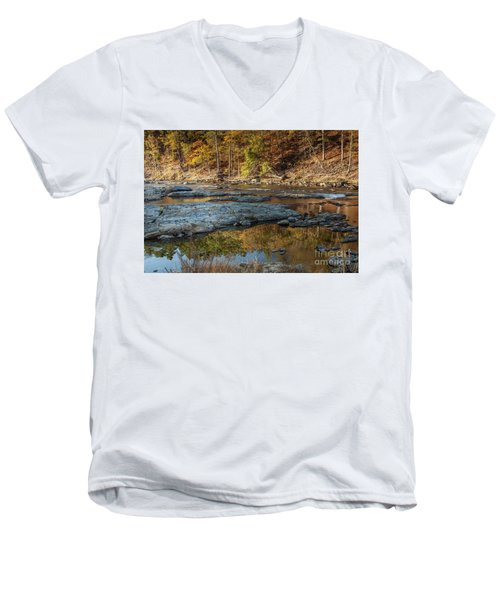Men's V-Neck T-Shirt featuring the photograph Fork River Reflection In Fall by Iris Greenwell