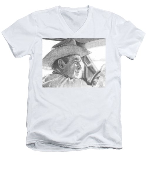 Former Pres. George W. Bush Wearing A Cowboy Hat Men's V-Neck T-Shirt by Michelle Flanagan