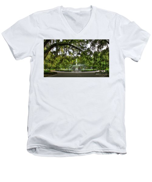 Forsyth Park Fountain Historic Savannah Georgia Men's V-Neck T-Shirt by Reid Callaway
