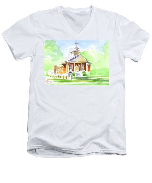 Men's V-Neck T-Shirt featuring the painting Fort Hill Methodist Church 2 by Kip DeVore