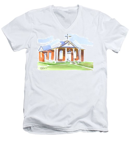 Men's V-Neck T-Shirt featuring the painting Fort Hill Methodist Church by Kip DeVore