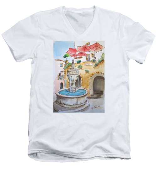 Men's V-Neck T-Shirt featuring the painting Fountain At St Paul De Vence by Marilyn Zalatan