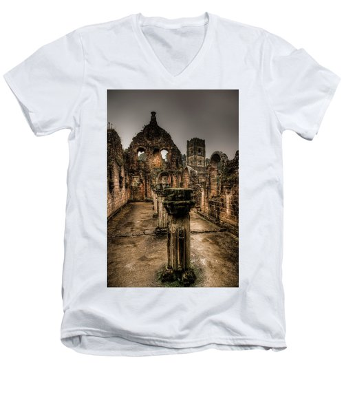 Fountains Abbey In Pouring Rain Men's V-Neck T-Shirt